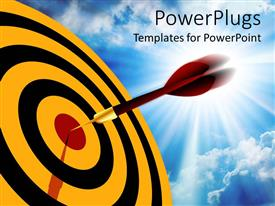 PowerPlugs: PowerPoint template with red dart hitting the middle of a yellow and black dart board