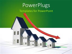 PowerPlugs: PowerPoint template with red decreasing arrrow on residential houses depicting downward turn in real estate