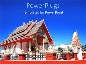 PowerPlugs: PowerPoint template with red and designed Buddhist temple with clear blue skies