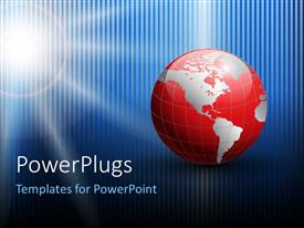 PowerPlugs: PowerPoint template with a red earth globe on a blue colored background