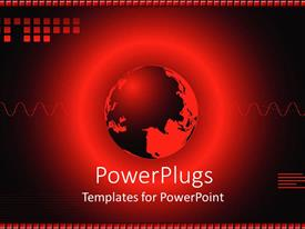 PowerPlugs: PowerPoint template with red earth globe with wave lines on a red background