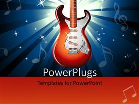 PowerPoint template displaying red electric guitar over music themed background with music symbols