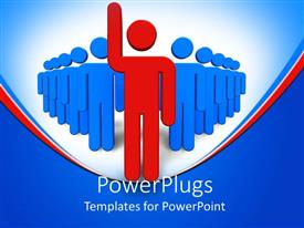 PowerPoint template displaying red figure leading team of blue figures on red and blue background