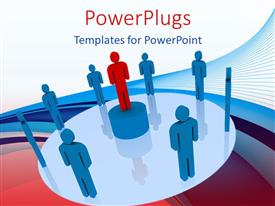 PowerPoint template displaying red figure on pedestal surrounded by blue figures against abstract background