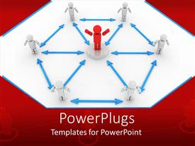 PowerPlugs: PowerPoint template with red figure standing in the center of a diagram with white figures surrounding it and blue arrows connecting the figures