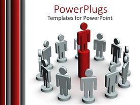 PowerPoint template displaying red figure standing on tall pedestal surrounded by white figures