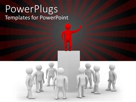 PowerPlugs: PowerPoint template with red figure on top of tall pedestal addressing group of white figures