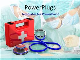 PowerPlugs: PowerPoint template with red first aid kit with medical doctors kitted with masks on
