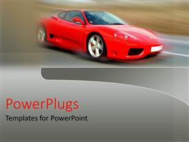 PowerPoint template displaying red flashy sports car with a blurry back ground