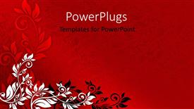 PowerPoint template displaying red floral background with black and white ornaments