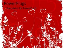 PowerPoint template displaying red flowers as hearts graphics