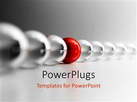 PowerPlugs: PowerPoint template with red glass sphere in row of clear spheres