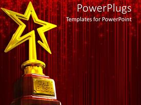 PowerPlugs: PowerPoint template with red glowing curtain background with gold star award for 'The Best'