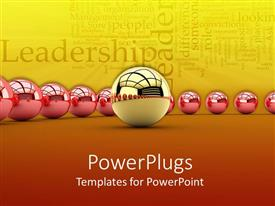 PowerPlugs: PowerPoint template with red glowing spheres and a red glowing sphere in the center depicting the concept of leadership with words related to leadership on a yellow with orange and red background