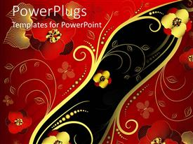 PowerPlugs: PowerPoint template with red, gold, and black Oriental style floral pattern