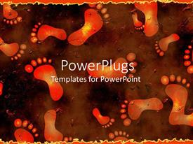 PowerPlugs: PowerPoint template with red and gold footprints on brown background