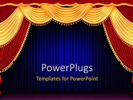 PowerPlugs: PowerPoint template with red and gold theater curtain tied back in front of blue curtain