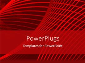 PowerPlugs: PowerPoint template with red graphical lines over world map in distance