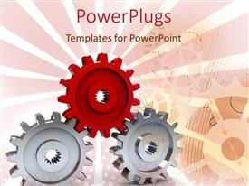PowerPlugs: PowerPoint template with red and gray industrial gears, pink background