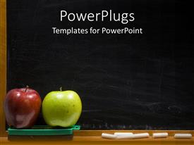 PowerPlugs: PowerPoint template with red and green apples for teacher with black chalk board and white chalk in old fashioned classroom
