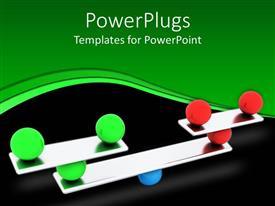 PowerPlugs: PowerPoint template with red, green and blue balls carefully balanced on a silver scale