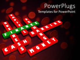 PowerPoint template displaying red and green colored puzzles with words and red background