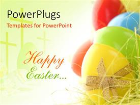PowerPlugs: PowerPoint template with red and green Happy Easter next to brightly colored eggs