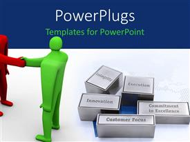 PowerPlugs: PowerPoint template with red and Green man shake hands over mission of company