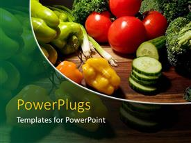 PowerPlugs: PowerPoint template with red green orange multicolored vegetables for healthy cooking on a dark background