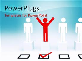 PowerPlugs: PowerPoint template with happy man raise hands after selection with check box ticked