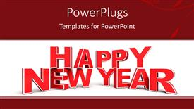 PowerPlugs: PowerPoint template with a big red 3D text that spell out the word 'Happy New Year'