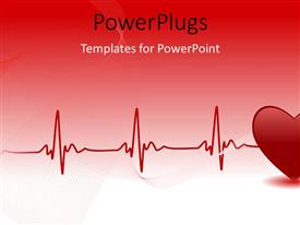 PowerPlugs: PowerPoint template with red heart and heartbeat symbol over red background