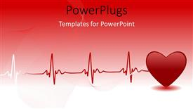 PowerPoint template displaying red heart and heartbeat symbol over red background