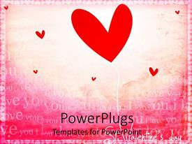 PowerPoint template displaying red heart shape balloon and little red hearts  I love you words on pink background