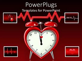 PowerPoint template displaying a red heart shaped alarm clock on a red background