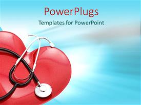 PowerPlugs: PowerPoint template with red heart with stethoscope, cardiovascular disease, medicine, cardiology, health care