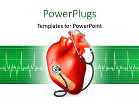 PowerPoint template displaying red heart and stethoscope with ECG graph on green background