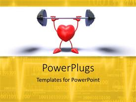 PowerPlugs: PowerPoint template with red heart symbol lifts weight with binary digits in background