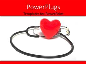 PowerPlugs: PowerPoint template with red heart symbols sitting beside stethoscope on white background