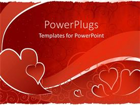 PowerPlugs: PowerPoint template with red hearts with red swirl wave, red scroll background