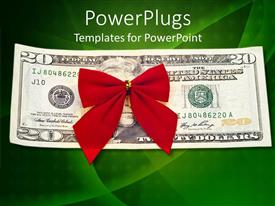 PowerPlugs: PowerPoint template with red holiday bow on twenty dollar bill against green background