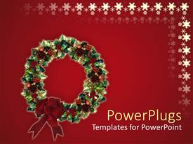 PowerPoint template displaying red holiday snowflake background with Christmas wreath