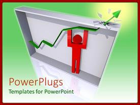 PowerPoint template displaying red human figure lifting an arrow out side a box