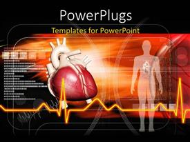 PowerPoint template displaying red human heart with ECG waves and huan body over dark background