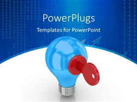 PowerPlugs: PowerPoint template with red key inserted in key hole in bulb and numeric digits in background