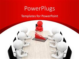 PowerPlugs: PowerPoint template with red leader with team sitting around rendered financial chart on conference table