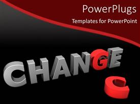 PowerPoint template displaying red letter G in gray word Change next to red letter C