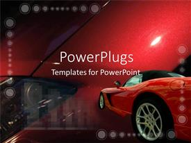 PowerPlugs: PowerPoint template with red luxury car on colorful red background