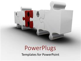 PowerPlugs: PowerPoint template with red missing puzzle piece white background