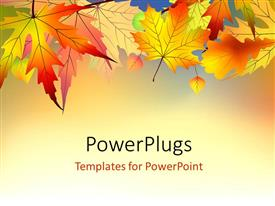 PowerPlugs: PowerPoint template with red and orange autumn leaves on light background